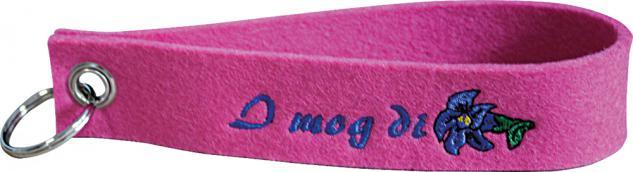 Filz-Schlüsselanhänger mit Stick I mog di Gr. ca. 19x3cm 14029 rosa