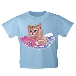 Kinder T-Shirt mit Print Cat Katze auf Surfbrett KA074/1 Gr. hellblau / 122/128