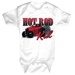 Baby-Body Strampler mit Print Auto Hot Rod Kid B12781 weiß Gr. 6-12 Monate