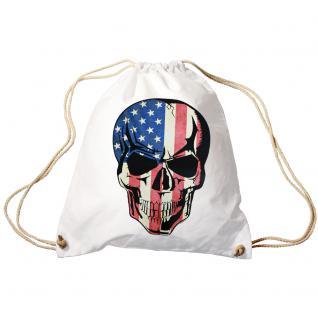 Trend-Bag Turnbeutel Sporttasche Rucksack mit Print - USA Skull Totenkopf - TB653111