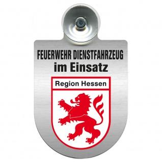 Einsatzschild Windschutzscheibe incl. Saugnapf - Feuerwehr Dienstfahrzeug im Einsatz - 393801 - incl. Regionen nach Wahl Region Hessen