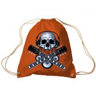 Trend-Bag Turnbeutel Sporttasche Rucksack mit Print - Skull Guitar - TB65308 limegrün
