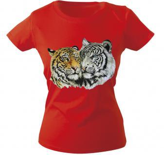 Girly-Shirt mit Print - Tiger - 10848 - versch. farben zur Wahl - rot / XS