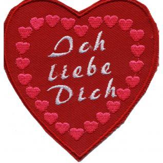 AUFNÄHER - Ich liebe dich - 02385 - Gr. ca. 9 x 9, 5 cm - Patches Stick Applikation