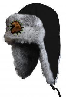 Chapka Fliegermütze Pilotenmütze Fellmütze in schwarz mit 28 verschiedenen Emblemen 60015-schwarz Adler 2