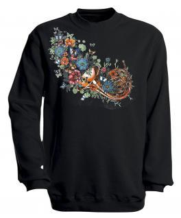 Sweatshirt mit Print - Trompete - S10283 - versch. farben zur Wahl - Gr. schwarz / S