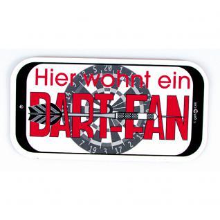 Spaßschild - Hier wohnt ein Dart-Fan - 308117/1 - Gr. ca. 145 x 75 mm