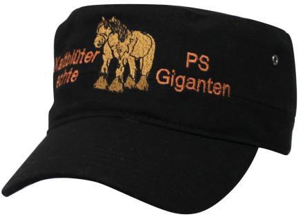 Military - Cap - Freizeit - Cappy mit Bestickung - Kaltblüter- echte PS-Giganten - 68248 schwarz - Cap Kappe Baseballcap Baumwollcap