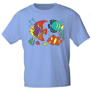 Kinder Marken-T-Shirt mit Motivdruck in 12 Farben Fische K12779 hellblau / 98/104