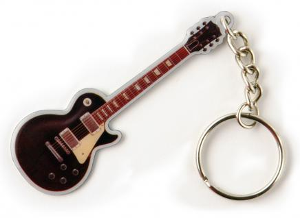 Metall- Schlüsselanhänger mit brillantem Motiv - Gitarre - Gr. ca. 11x4cm - 13286