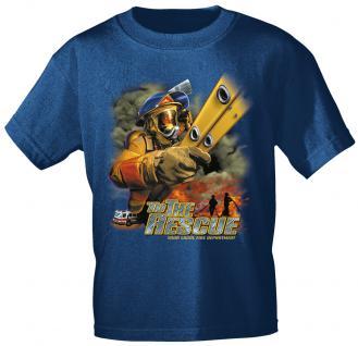 T-Shirt mit Print - Feuerwehr - 10589 - versch. Farben zur Wahl - Gr. Navy / M