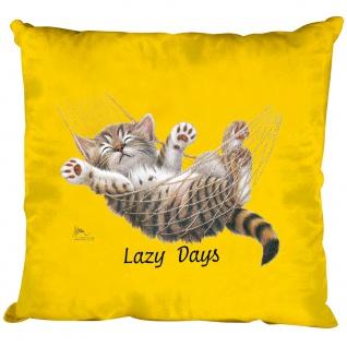 Kissen Dekokissen mit Print Katze Cat Lazy Days KA050 gelb