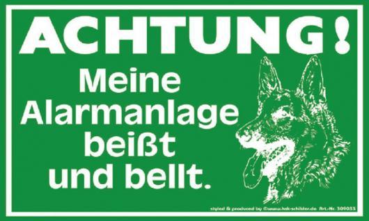 Warnschild Spaß - ACHTUNG! Meine Alarmanlage beißt... - 309033 - 25cm x 15cm - Kunststoffschild Hund Tiere