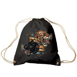 Trend-Bag Turnbeutel Sporttasche Rucksack mit Print - Leopard und Panther - TB12669 schwarz