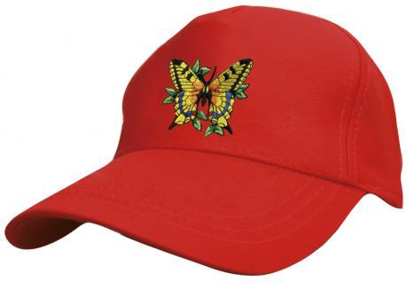 Kinder Baseballcap mit Stickmotiv - fliegender Schmetterling Butterfly - 69133 versch. Farben rot