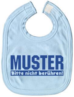 Baby-Lätzchen mit Druckmotiv - Muster bitte nicht berühren! - 08453 - hellblau