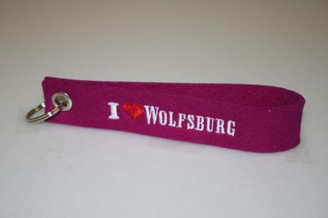 Filz-Schlüsselanhänger mit Stick - I love Wolfsburg - Gr. ca. 17x3cm - 14332