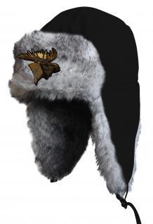 Chapka Fliegermütze Pilotenmütze Fellmütze in schwarz mit 28 verschiedenen Emblemen 60015-schwarz Elch
