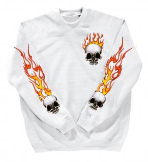 Sweatshirt mit Print - Totenkopf Fire - 10112 - versch. farben zur Wahl - weiß / XL