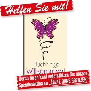 MAGNET mit Motiv - FLÜCHTLINGE WILLKOMMEN - Gr. ca. 8cm x 5, 5cm - 37645 - Küchenmagnet