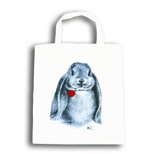 Baumwolltasche mit Print Kaninchen Hase Widder B06971 weiß - Vorschau