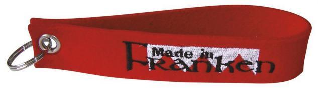 Filz-Schlüsselanhänger mit Stick MADE IN FRANKEN Gr. ca. 17x3cm 14062 Keyholder rot
