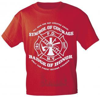 T-Shirt mit Vorder- und Rückenprint - Feuerwehr Symbol - 09856 rot - Gr. L