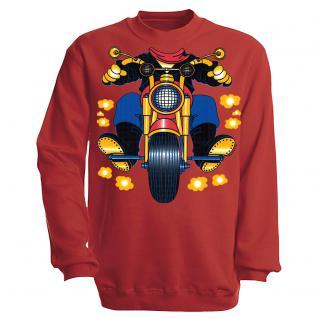 Sweatshirt mit Print - Motorrad - S12780 - versch. farben zur Wahl - Gr. rot / L