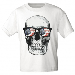 T-SHIRT Print Totenkopf Skull USA Amerika 10982 Gr. weiß / M