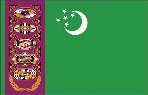 Länder-Flagge - Turkmenistan - Gr. ca. 40x30cm - 77174 - Flagge, Hissfahne, Stockländerfahne