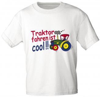 Kinder T-Shirt mit Aufdruck - TRAKTOR FAHREN IST COOL - 08233 - Gr. 86 - 164 in 5 Farben weiß / 110/116