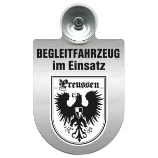 Einsatzschild Windschutzscheibe incl. Saugnapf - Begleitfahrzeug im Einsatz - 309457 - Region Preussen