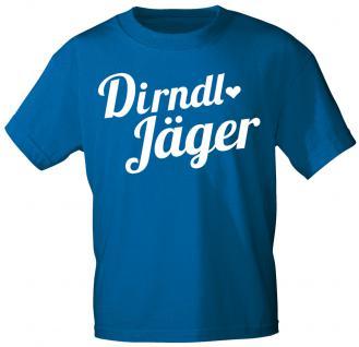 T-Shirt unisex mit Aufdruck - Dirndl-Jäger - 10911 blau - Gr. S-XXL