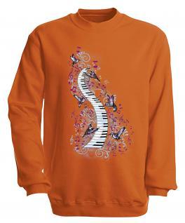 S-Shirt mit Print - Klavier - 09018 - versch. farben zur Wahl - Gr. Orange / XL