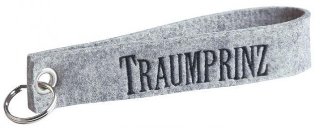 Filz-Schlüsselanhänger mit Stick Traumprinz Gr. ca. 17x3cm 14068 hellgrau