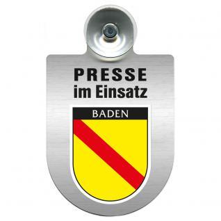 Einsatzschild Windschutzscheibe incl. Saugnapf - Presse im Einsatz - 309456-17 Region Baden