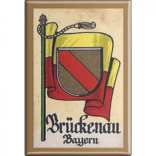 Küchenmagnet - Wappen Brückenau - Gr. ca. 8 x 5, 5 cm - 37513 - Magnet Kühlschrankmagnet