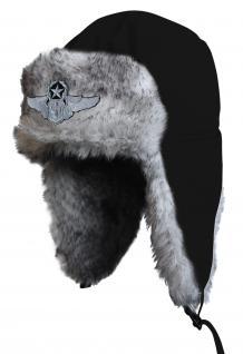 Chapka Fliegermütze Pilotenmütze Fellmütze in schwarz mit 28 verschiedenen Emblemen 60015-schwarz Tribal Rose - Vorschau 3
