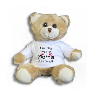Teddybär mit Shirt - Für die beste Mama der Welt - Größe ca 26cm - 27047 hellbraun