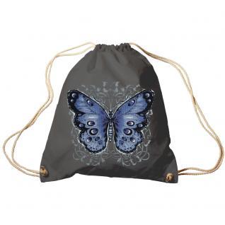 Trend-Bag Turnbeutel Sporttasche Rucksack mit Print - Schmetterling - TB65325 anthrazitgrau