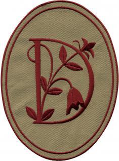 AUFNÄHER oval - Buchstabe D - Gr. ca. 10cm x 14cm (21535) Patches Stick Emblem Alphabet ABC