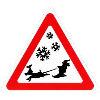 Schild Hinweisschild Vorsicht Weihnachtsmann auf Ski 308859/1 Gr. ca. 29, 5cm x 34cm