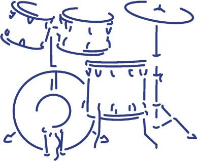 Aufkleber Applikation - Schlagzeug - Drumkit - AP0671 - versch. Größen