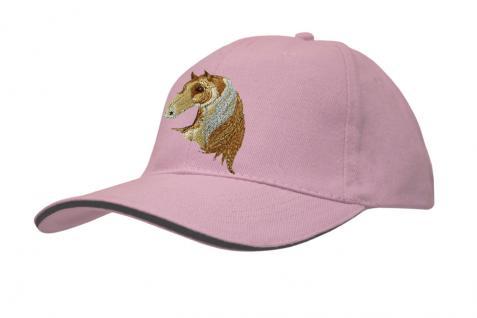 Cap mit gr. Pferde - Stick - Pferdekopf - 69241-3 rosa - Baumwollcap Baseballcap Hut Cappy Schirmmütze