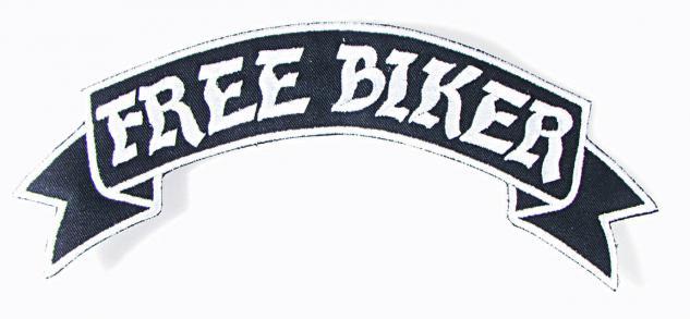 Rückenaufnäher - FREE BIKER - Gr. ca. 28cm x 7cm - 08509 - Aufnäher Stick Patches Applikation Biker Trucker Motorradfahrer