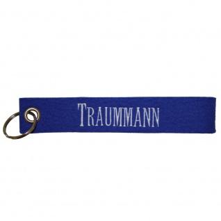 Filz-Schlüsselanhänger mit Stick Traummann Gr. ca. 17x3cm 14250 blau