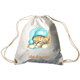 Sporttasche Turnbeutel Trend-Bag Print Cat Katze i don´t do mornings - KA057/2 weiß