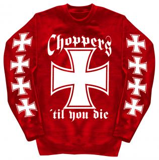 Sweatshirt mit Print - Choppers - 10116 - versch. farben zur Wahl - rot / S