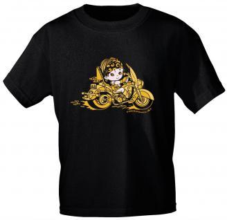 Kinder T-Shirt mit Aufdruck - Bikerin - 06901 - schwarz - Gr. 110/116