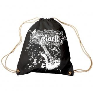 Trend-Bag Turnbeutel Sporttasche Rucksack mit Print - Rock Guitar - TB65303 schwarz